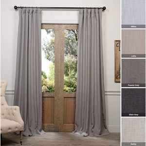 New Heavy Faux Linen Curtain Panel Gray